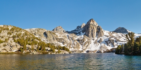 pct: Rae Lakes Panorama - Kings Canyon National Park, Sierra Nevada, California, USA Stock Photo