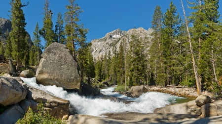 Raging Mountain Creek in the Sierra Nevada, California, USA