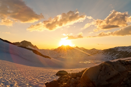 pacific crest trail: Sierra Nevada Sunset at Muir Pass, California, USA