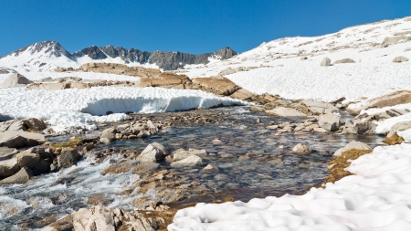 jmt: Melting Snow in the Sierra Nevada, California, USA