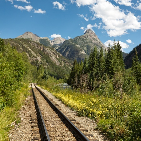 narrow gauge: Tracks of the historic Durango and Silverton Narrow Gauge Railroad along the Animas River, Colorado, USA