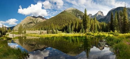 Colorado Mountain Lake Panorama in the Rocky Mountains Stock Photo