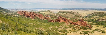角度のついた: ロクスバラ州立公園のパノラマの壮大な赤い砂岩の崖のデンバー、コロラド州の近くの角度