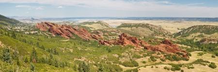 denver parks: Roxborough State Park Panorama  Spectacular angled red sandstone cliffs near Denver, Colorado