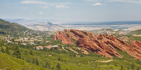 cloud formation: Angled sandstone cliffs in Roxborough State Park near Denver, Colorado.