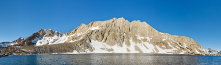 jmt: Alpine Lake Panorama at Kings Canyon National Park, Sierra Nevada, California, USA Stock Photo