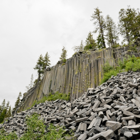Devils Postpile National Monument. Cliffs of  columnar basalt. Near Mammoth Lakes, California, USA.