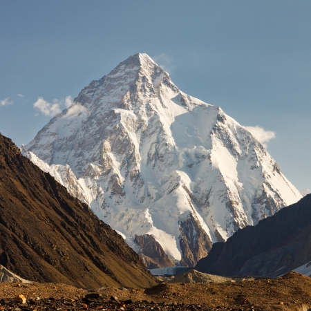 K2 in the Karakorum Mountains, Pakistan, in early morning light. Stock Photo