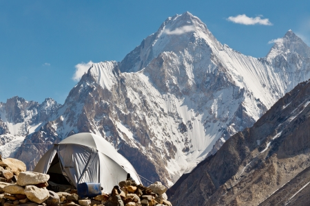 Karakorum Camp, Pakistan, with grand view of Gasherbrum IV