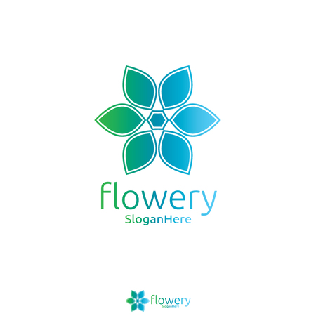 Elegant flower logo icon vector design with Green Blue Nature and fresh color design concept. Looped Leaves Logotype design vector Luxury Fashion template. Illustration