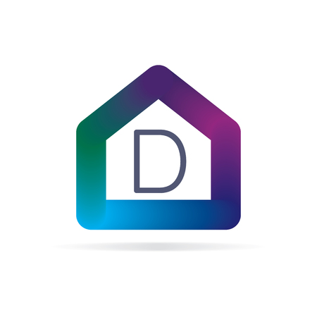 house logo with letter d sign. logo template