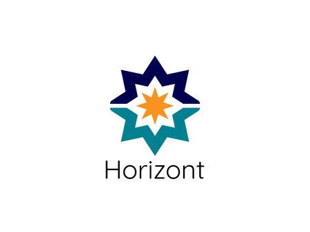 Abstract sun star horizon logo template. modern corporate design concept vector illustration