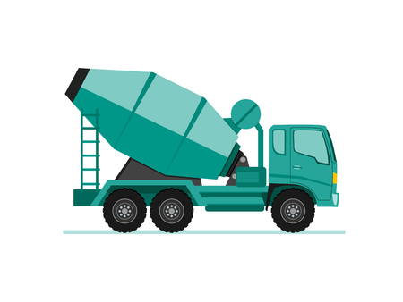 concrete cement mixer truck icon in flat design style vector illustration Illustration