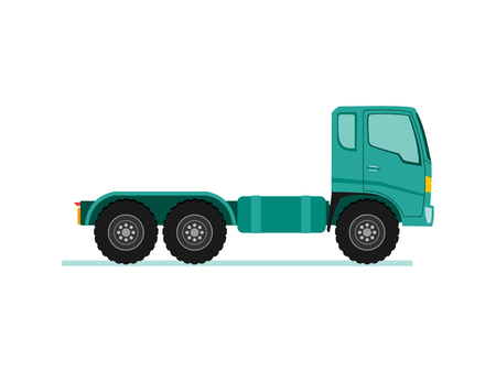 Truck trailer with container. long vehicle with flat design style vector illustration.