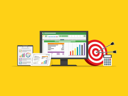 spreadsheet business finance data and marketing target strategy concept in flat design vector illustration 向量圖像