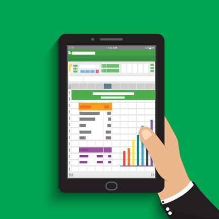 hand holding tablet. businessman read spreadsheet financial analysis report with chart and graph. flat design for business concept Vector illustration.