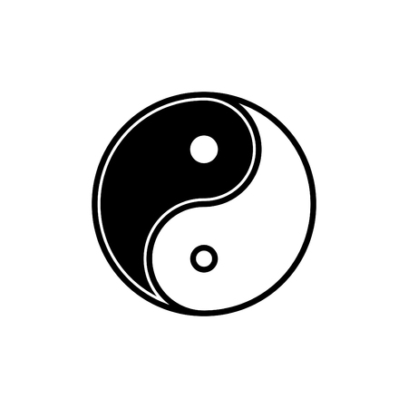 Yin yang logo symbol icon Vector illustration.