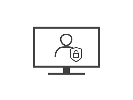 Privacy Data protection and Internet VPN shield Security Concept line icon vector illustration.