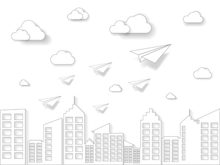 Paper plane flying on white sky with cloud and building. Illustration of business and leadership concept. Nature landscape with paper art style.