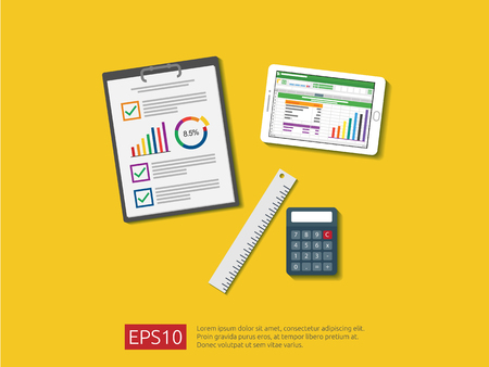 business item in flat style workplace design concept. top view of office things and other objects for planning and accounting, analysis, audit, project management, marketing, research vector illustration. Vettoriali