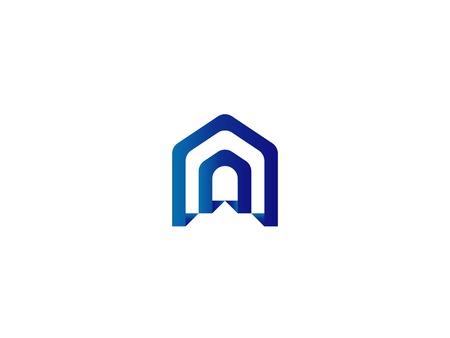 Door logo for home or real estate. Letter A or D entrance, gate, construction and doorway symbol vector illustration  イラスト・ベクター素材