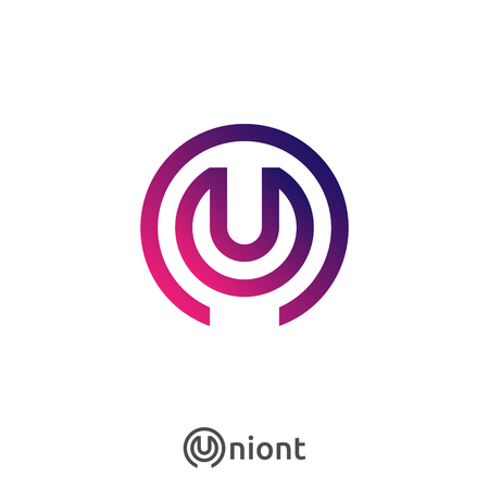 Letter U, N logo icon. Abstract alphabet sign design for business company. Vector illustration.