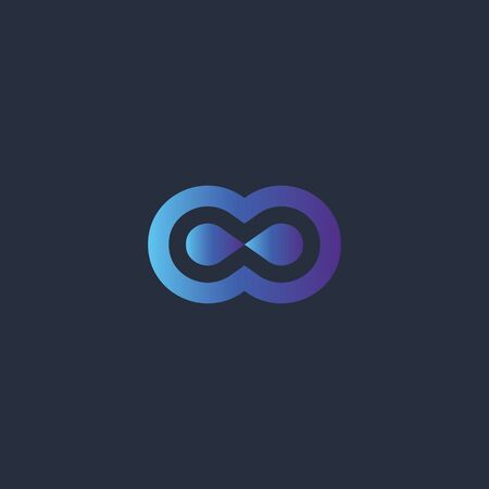 Abstract double circle logo symbol design for business company. Vector illustration. Vettoriali
