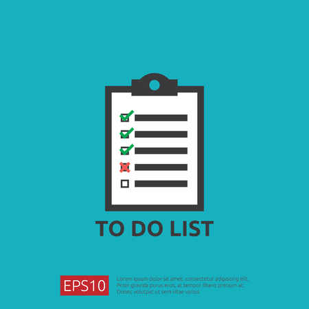 To do list or planning symbol icon in flat style. Illustration