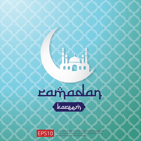 Ramadan Kareem islamic greeting design with moon and dome mosque element. background Vector illustration. Illustration