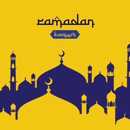 Ramadan Kareem islamic greeting design with dome mosque element in flat style. background Vector illustration. 免版税图像 - 100427205