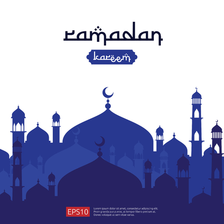 Ramadan Kareem islamic greeting design with dome mosque element in flat style. background Vector illustration. 版權商用圖片 - 100427216