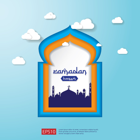 Ramadan Kareem Mosque Door or Window in paper cut and flat style design for greeting. islamic background or card. vector illustration.