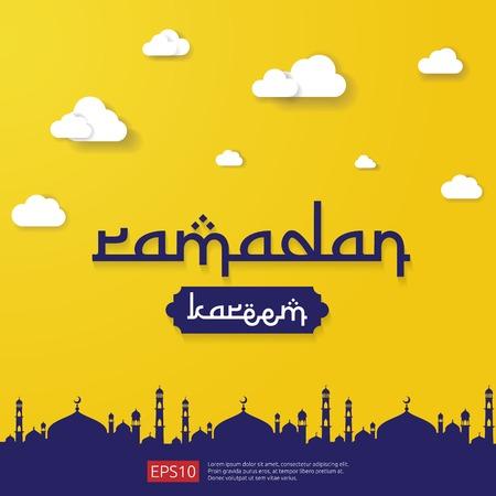 Islamischer Grußentwurf des Ramadan Kareem mit dem Kuppelmoscheenelement im flachen Stil. Hintergrund Vektor-Illustration.
