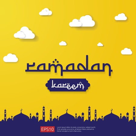 Ramadan Kareem islamic greeting design with dome mosque element in flat style. background Vector illustration.