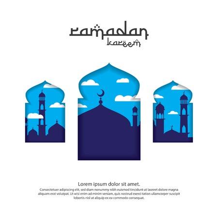 Conception de carte de voeux islamique Ramadan Kareem avec élément de mosquée dôme 3D dans la porte ou la fenêtre avec style papier découpé. illustration vectorielle de fond.