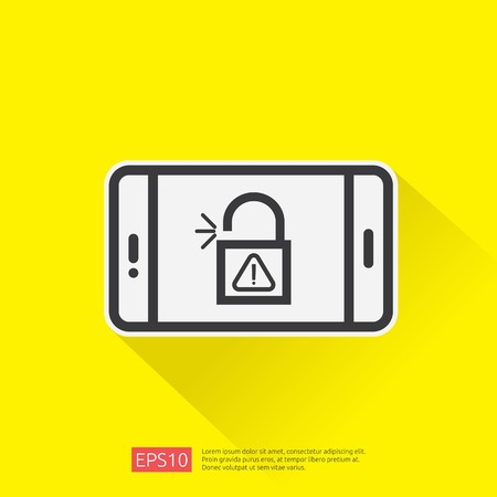 open unlock padlock on mobile phone screen icon. attention access warning alert sign mark symbol. safe secure of personal user authorization, VPN internet protection. vector illustration