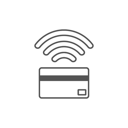 Contactless payment icon. Near-field communication (NFC) card technology concept icon. Tap to pay. vector illustration. Çizim