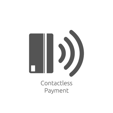 Symbol für kontaktloses Bezahlen. Symbol für das Konzept der Nahfeldkommunikationskarten-Technologie (NFC). Tippen Sie auf, um zu bezahlen. Vektorillustration.