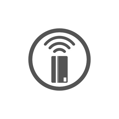 Contactless payment icon. Near-field communication (NFC) card technology concept icon. Tap to pay. vector illustration. Ilustrace