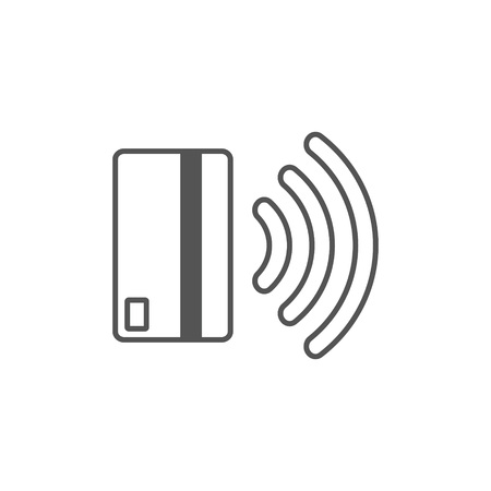 Contactless payment icon. Near-field communication (NFC) card technology concept icon. Tap to pay. vector illustration. Ilustração