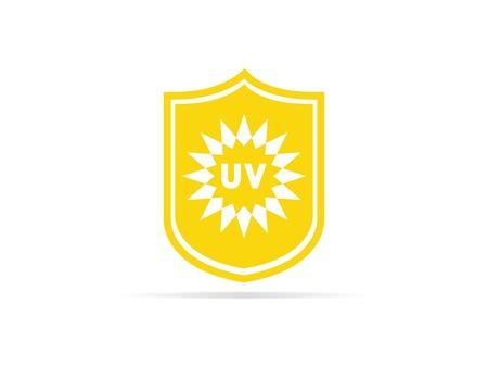 UV protection icon, anti ultraviolet radiation with sun and shield logo symbol. vector illustration. Vettoriali