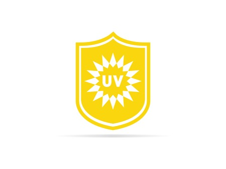 UV protection icon, anti ultraviolet radiation with sun and shield logo symbol. vector illustration. Illustration