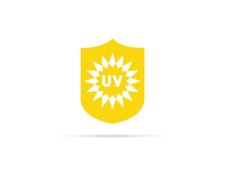 Icono de protección UV, anti radiación ultravioleta con símbolo de logotipo de sol y escudo. ilustración vectorial.