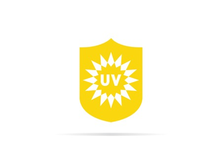 UV protection icon, anti ultraviolet radiation with sun and shield logo symbol. vector illustration. 矢量图像