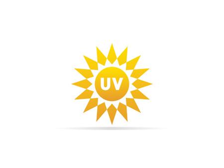UV-straling pictogram, ultraviolet met zon logo-symbool. vector illustratie.