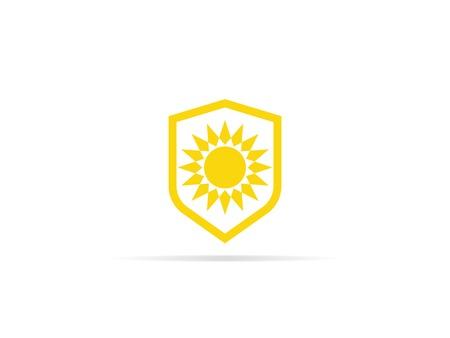 UV-bescherming pictogram, anti-ultraviolette straling met zon en schild logo-symbool. vector illustratie.