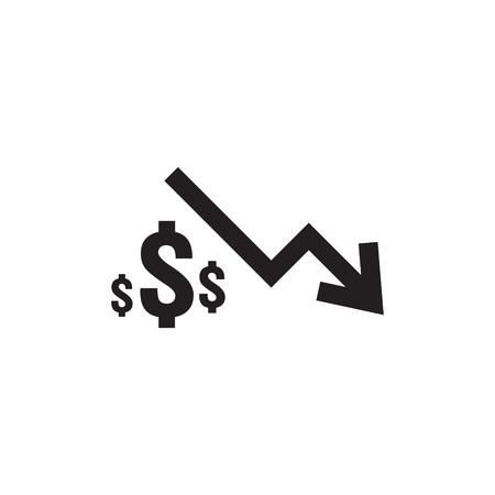 dollar daling pictogram. Geldsymbool met pijl die zich uitstrekt stijgende daling naar beneden vallen. Zakelijke kostenreductie pictogram op witte achtergrond. vector illustratie. Vector Illustratie