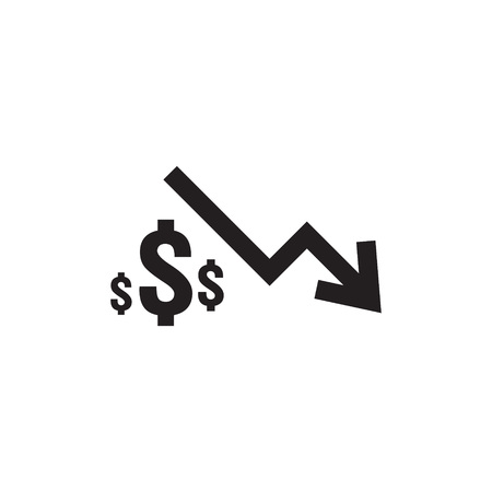 dollar decrease icon. Money symbol with arrow stretching rising drop fall down. Business cost reduction icon in white background. vector illustration.