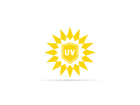 UV protection icon, anti ultraviolet radiation with sun and shield logo symbol. vector illustration. Çizim