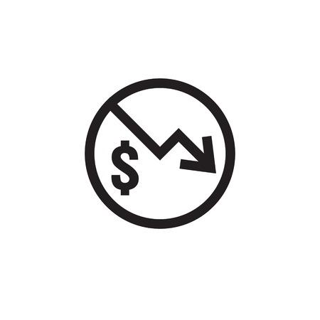 dollar daling pictogram. Geldsymbool met pijl die zich uitstrekt stijgende daling naar beneden vallen. Bedrijfskostenvermindering pictogram op witte achtergrond. vector illustratie.